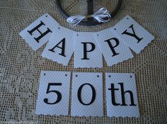 Bunting Banner Flags Garland HAPPY 50th Embossed Birthday Decoration DIY