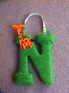 Nolan's Yarn Letter Yarn Letters, Yarn Projects, Felt Crafts, Craft Ideas, Lettering, Christmas Ornaments, Holiday Decor, Diy, Bricolage