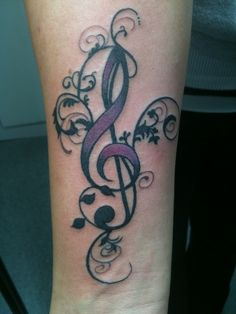 Musical Treble Clef Tattoo
