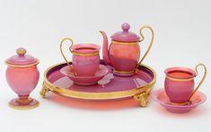Two-person tea set France, Blown glass, gilt bronze
