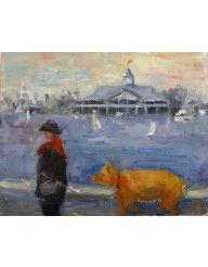 Wendy Johnson Oil Painting Truffle Pig in Newport Beach