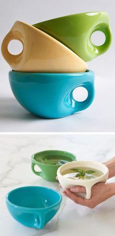 Con la llegada del frío apetece mucho tomar sopas o caldos calientes, con estos boles tan ergonómicos será muy fácil.
