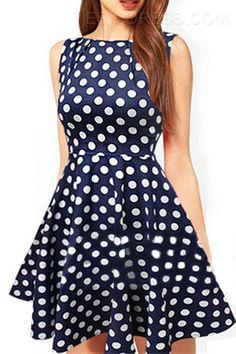 Ericdress Polka Dots Sleeveless Dress Casual Dresses ! ♥