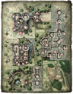 A variety of map designs for tabletop board games and fantasy adventure game settings.