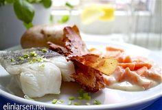 Lettsaltet torsk med sprøstekt bacon, gulrotstuing og poteter - Elin Larsen
