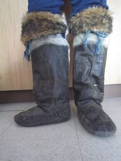 Inuit made sealskin boots by Lorna Atagoyuk