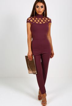 Update your wardrobe with this amaze dark purple jumpsuit! This gorgeous jumpsuit features lattice style cut out detail, a high neck and concealed zip fastening at the back. A total show stopper, a...