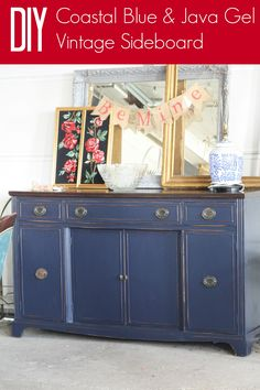 Coastal Blue & Java Gel Sideboard by Primitive & Proper; using General Finishes products for a simple DIY makeover