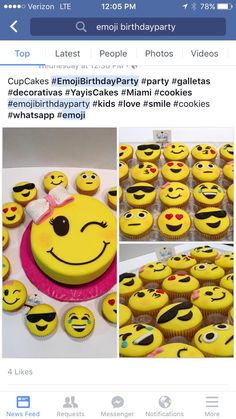emoji caKe and Cupcakes Bday Girl, Birthday Cake Girls, Birthday Parties, 10th Birthday, Birthday Ideas, Birthday Cakes, Party Mottos, Emoji Cake, Savoury Cake