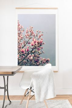 Olivia St Claire Pink Magnolia Art Print And Hanger | DENY Designs Home Accessories