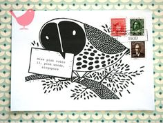 Set of five owl envelopes print from a series of by misspinkrobin, $4.00
