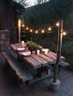 Garden Table Plans Ideas for Backyard Eating Family Food Garden # Backyard Picnic, Backyard Landscaping, Picnic Area, Wooded Backyard Landscape, Rustic Backyard, Backyard Seating, Diy Garden Table, Diy Picnic Table, Picnic Table Plans