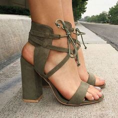 Suede Cross Strap Chunky Heel Sandals - Thumbnail 1
