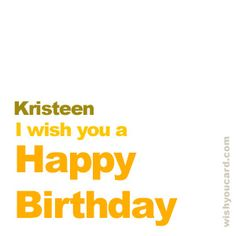 Happy Birthday, Kristeen!