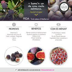 La figa és una fruita rica en fibra que ajuda a regular eltrànsit intestinal. Quan no és temporada la podem menjar seca,que concentra més calci i ferro.#sumanundenou