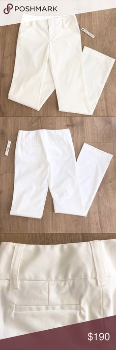 Alice + Olivia White Pants Brand New with tags!   - Size 0, fits like a 1 or a small 2 at waist - Color White (true white) - Material wrinkles easily, more of a casual looking fabric - 98% cotton/ 2% Lycra  - Unlined  - Tiny stain on one of the belt loops & minor unnoticeable stains along bottom hem of pants, see last 2 photos - Price is firm, bundle for discount & free shipping   Let me know if you'd like more photos! Alice + Olivia Pants