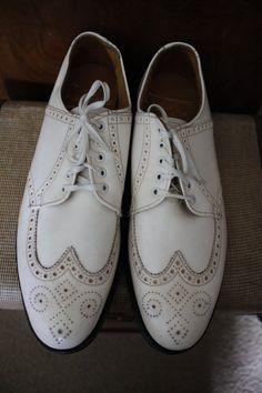 Jay Gatsby's Dancing Shoes - Off White Corfam wingtips/golf shoe Size US Men 7.5 Women 9