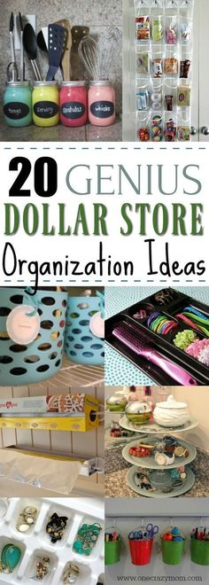 Get your home in order with these Dollar Store Home Organization Ideas. 20 creative ways to make the most of your space. Ideas that won't bust your budget! Easy way to organize the house this summer! #homeorganization #dollarstoretips #organization #savemoney #onecrazymom