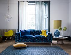 Minnelli Large Sofa in Marble Butterfly Electric Blue with Estelle Blue Scatter Cushions #DurestaforMW #MWFurniture #HarrodsHome #Duresta