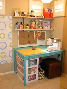 I would love to have this as a vanity type table with all of my hair, nail, and makeup stuff