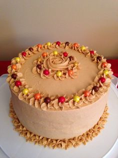 Chocolate cake, caramel filling, peanut butter frosting