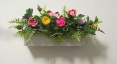 3-Miniature-doll-dollhouse-Fairy-Polymer-Roses-Window-Box-white-wood