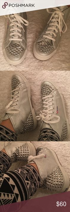Superga silver studded high tops Like new condition, worn once, no signs of wear, super clean, comfortable and easy laid back chic. Superga Shoes Sneakers