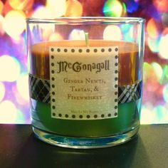Minerva mcgonagall scented 4oz candle- ginger newts, tartan, and firewhisky