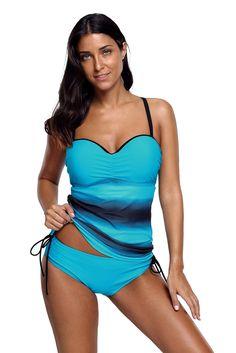 45daf5b76c2 Women Blue Fuzzy Stripe Print Sweetheart Halter Neck 2 PC Tankini Swimsuit  Set