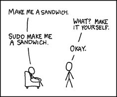 Proper User Policy apparently means Simon Says. (Randall Munroe, Sandwich, xkcd)