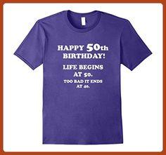 Mens Life Begins At 50 Happy 50th Birthday T-Shirt 2XL Purple - Birthday shirts (*Partner-Link)