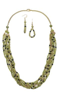 Jewelry Design - Multi-Strand Necklace and Earring Set with Green Serpentine Gemstone Beads, Black Obsidian Gemstone Beads and Gold-Plated Chain - Fire Mountain Gems and Beads