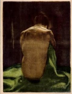 Female Nude with Green Shawl Seen from Behind   by Käthe Kollwitz, lithograph drawing, 1903.