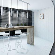 cocina moderna persianas negras rectas
