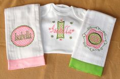 great gift idea!  Embroidered baby monogrammed onesie and burp by LoveToSewBoutique, $36.50