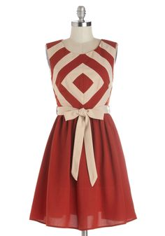 Foremost Finesse Dress. Youre a cutting-edge lady in this geo-print dress, which features silky fabric in a deep orange hue. #red #modcloth