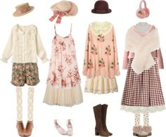 A fashion look from December 2014 featuring cotton dress, wool sweater and pink top. Browse and shop related looks. Kawaii Fashion, Cute Fashion, Vintage Fashion, Fashion Styles, Girl Japanese, Japanese Fashion, Style Grunge, Soft Grunge, Mori Girl Fashion