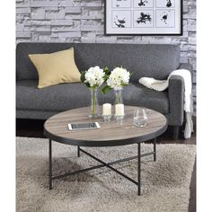 Acme Furniture Bage Weathered Gray Oak Water Resistant Coffee Table-81735 - The Home Depot
