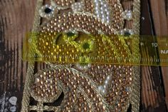 Hearty Vintage Sari Border Antique Hand Beaded Indian Trim Décor Ribbon Beige Lace Relieving Rheumatism And Cold Antiques