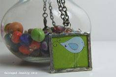 Salvaged Glass Pendant with a Twirlie Bird by SalvagedJewelry, $22.00