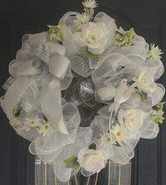 wedding mesh wreath | THIS WREATH CAN BE FOR A BRIDAL SHOWER, WEDDING, ANNIVERSARY OR EVEN A ...