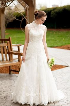 This special stunning wedding dress can make your event perfect. Strapless sweetheart neckline a-line wedding dress cover with high neck sleeveless lace overlay.