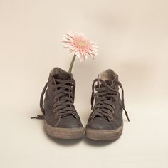 Brown Converse Boots and Pink Flower (Retro Still Life Photography) by Andreka