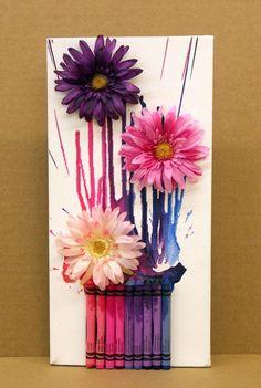 Melted Crayon Art Flowers | Pinterest Crafts For Kids