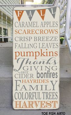 Autumn Fall Harvest Typography With Bunting Word Art Sign on Wood Distressed