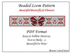 Beautiful Butterfly & FLowers  Beaded Loom by BonniesBeadBarnetc