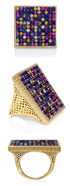 Multicolored sapphire square ring in gold, by Ray Griffiths. At Stone and Strand. Holiday Gift Guide, Holiday Gifts, Square Rings, Family Jewels, Rings Cool, Jewel Box, Gold Pearl, Colored Diamonds, Jewelery