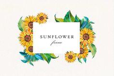 Watercolor Sunflower, Watercolor Flowers, Sunflower Wreaths, Frame Wreath, Wedding Frames, Flower Frame, Botanical Prints, Watercolor Illustration, Printable Wall Art