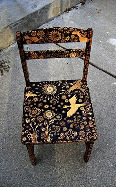 Custom Small Chair-emblazoned With An Ooak Night Forest Design-flower-bird-star…