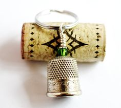 Vintage Metal Thimble Keychain Green Glass Bead Wire by Hendywood